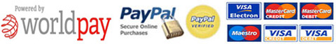 WorldPay, Paypal and visa cards logo's